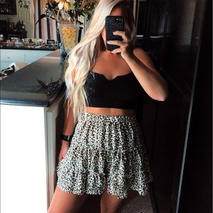 Leopard print high waisted boho ruffle skirt